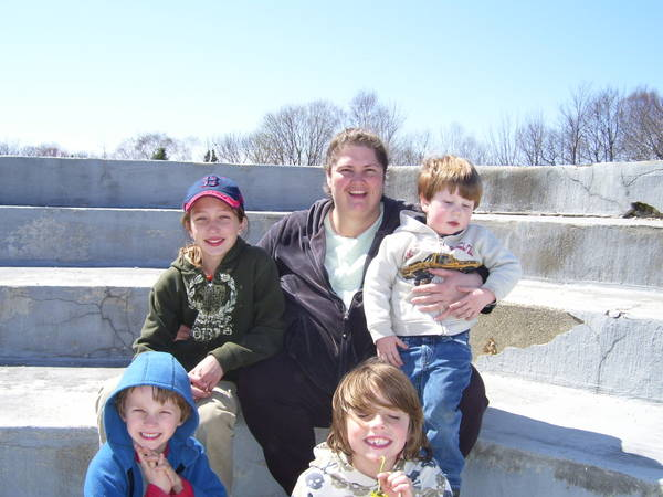 Melissa with the kids at Fort Williams Cache