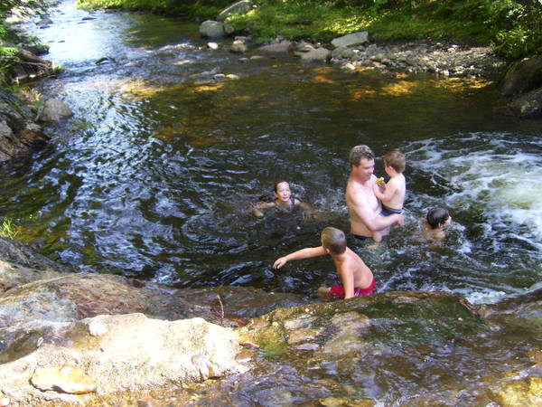 Swimming after the finds at Smalls Falls