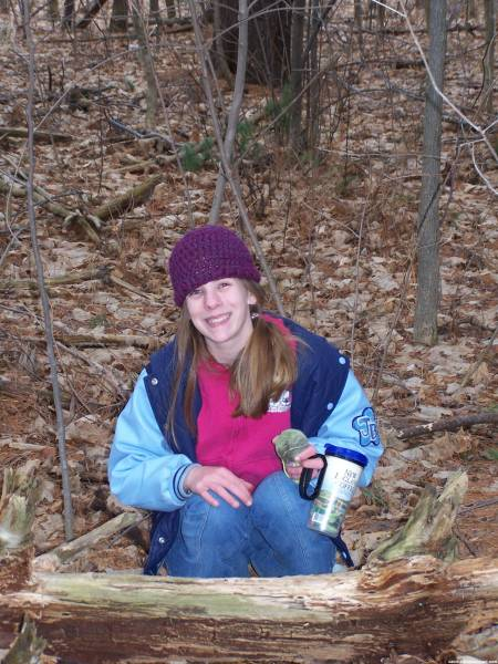 Katlyn Enjoys her trail walk at Oxbow Nature Trail &amp;amp; her Cache find