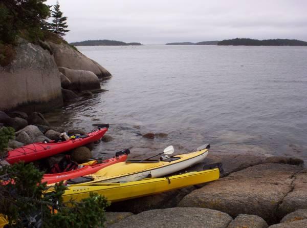 Landing the kayaks