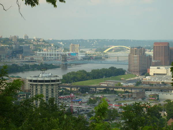 Near some caches in Kentucky Park looking at Cincinnati.